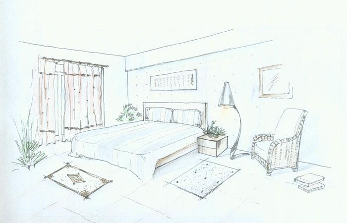 钢笔淡彩效果—— 卧室(二点透视)——手绘基本图; 将军华府新中式(2)