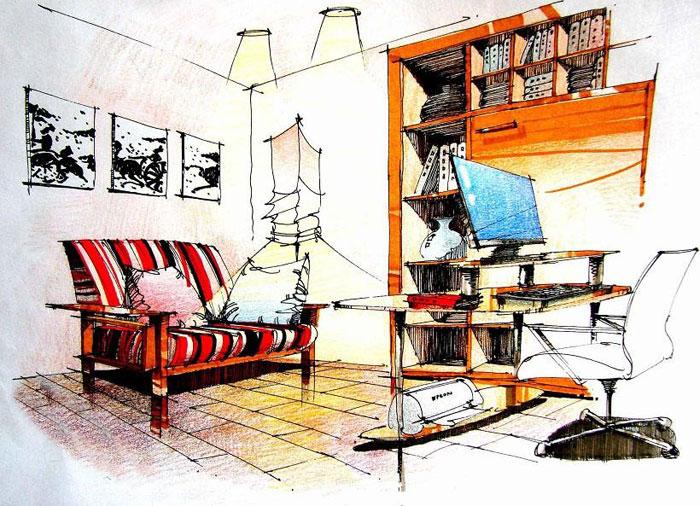 手绘书房效果图图片