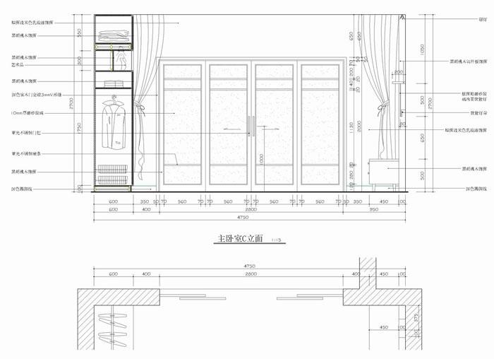 cad室内施工图-主卧室立面施工图